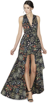 Alice + Olivia Aveena Asymmetrical V-Neck Flare Gown