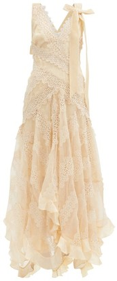 Zimmermann Charm Star V-neck Lace-panelled Silk Dress - Ivory