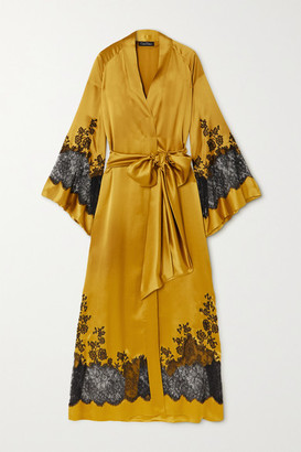 Carine Gilson Belted Chantilly Lace-trimmed Silk-satin Robe - Yellow