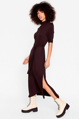 Nasty Gal Womens Tee BT Belted Midi Dress - Black - 4