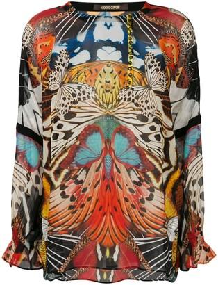 Roberto Cavalli Butterfly Print Blouse