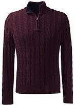 Lands' End Men's Cotton Drifter Quarter Zip Cable-Charcoal Heather Pattern