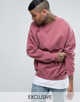 Reclaimed Vintage Inspired Oversized Sweatshirt In Pink Overdye