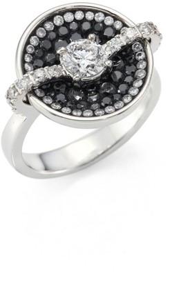 Plevé Black Border Diamond & 18K White Gold Round Opus Ring
