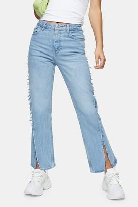 Topshop Womens Bleach Exposed Seam Straight Jeans - Bleach Stone