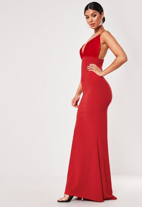 Missguided Red Organza Bust Fishtail Maxi Dress