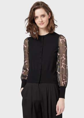Emporio Armani Cardigan With Crepe Voile Leoflower-Print Sleeves