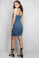 Rare Blue Embroidered Lace Up Denim Mini Dress