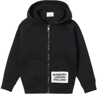 Burberry Boy's Zip-Up Hooded Jacket w/ Logo Patch, Size 3-14