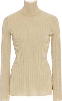 Victoria Victoria Beckham Slim Metallic Ribbed Turtleneck Sweater