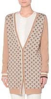 Agnona Long-Sleeve Printed-Front Cardigan, Camel/Black/Multi