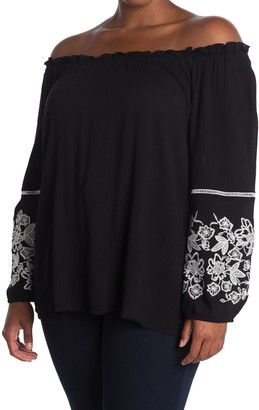 Forgotten Grace Embroidered Off-the-Shoulder Peasant Blouse (Plus Size)