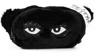Eye faux-fur belt bag