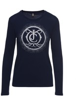 Juicy Couture Outlet - LOGO CRYSTAL MONOGRAM LONG SLEEVE TEE
