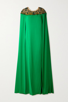 Marchesa Notte Cape-effect Embellished Tulle And Crepe Gown - Green