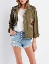 Charlotte Russe Embroidered Twill Utility Jacket