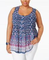American Rag Trendy Plus Size Printed Button-Down Blouse, Only at Macy's