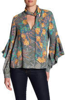 BCBGMAXAZRIA Floral Ruffle Sleeve Crepe Blouse