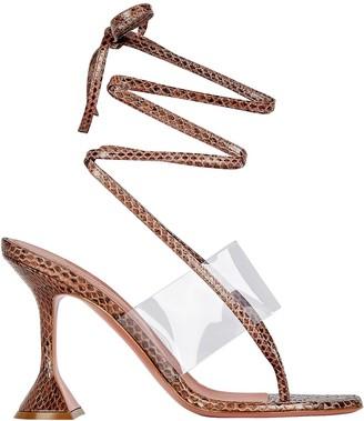 Amina Muaddi Zula Embossed Thong Sandals