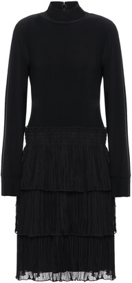 DKNY Tiered Paneled Jersey And Plisse-georgette Mini Dress