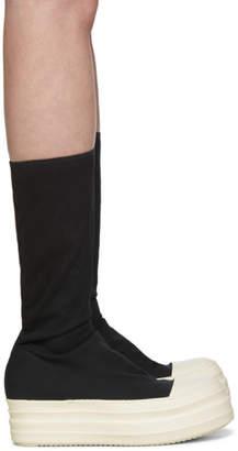 Rick Owens Black Canvas Double Bumper Sock Boots