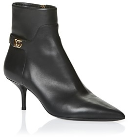 Dolce & Gabbana Women's Pointed Toe Mid Heel Leather Booties