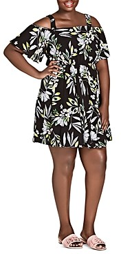 City Chic Plus Maui Frills Floral Cold-Shoulder Dress