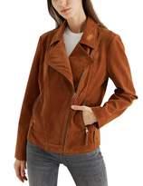 Mehepburn MEHEPBURN Women's Faux Suede Leather Jackets Long Sleeve Zipper Short Moto Biker Jacket Brown#1 M