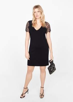 MANGO Lace sleeved dress