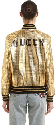 Gucci Guccy Stars Metallic Leather Jacket