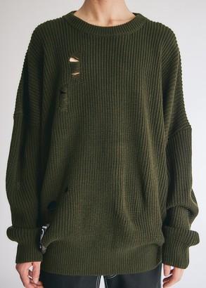 Neighborhood Men's Savage Crew Knit Top in Olive Drab, Size Medium