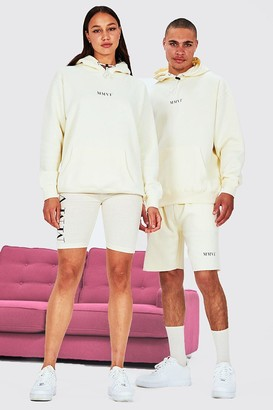 boohoo Mens Beige Hers Oversized Hoodie And Cycling Short, Beige