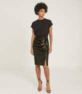 Thumbnail for your product : Reiss Leena - Velvet Pencil Skirt in Green