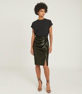 Reiss Leena - Velvet Pencil Skirt in Green