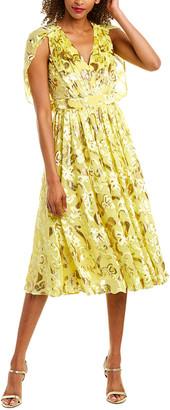 Prabal Gurung Cape Silk-Blend Midi Dress