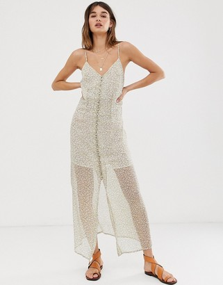 Only sheer ditsy floral maxi dress