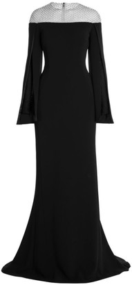 Stella McCartney Mesh Detail Off-The-Shoulder Cady Gown