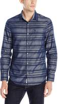 Original Penguin Men's Long Sleeve Stripe Chambray Button Down Shirt