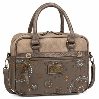 Lois Hand Bag with Removable and Adjustable Shoulder Strap. Woman. Double Handle. Printed linner. Outside and Inside Pockets. Nylon and Synthetic Leather. 304441 Color Brown