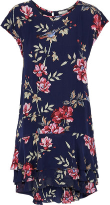 Joie Coreen Floral-print Silk Crepe De Chine Mini Dress