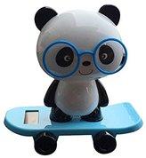 FTXJ Solar-Powered Dancing Cute Glasses Panda Office Desk Display Car Decoration (Blue)