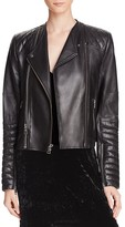 Alice + Olivia Gamma Quilted Leather Biker Jacket