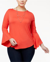 INC International Concepts Plus Size Bell-Sleeve Top, Only at Macy's