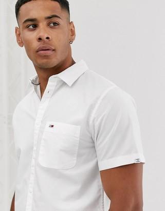 Tommy Jeans poplin short sleeve shirt-White