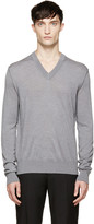 Dolce & Gabbana Grey V-Neck Sweater