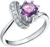 BMALL 18k White Gold Plated Ring Circle Love Design With Purple Gem Ring Size 6