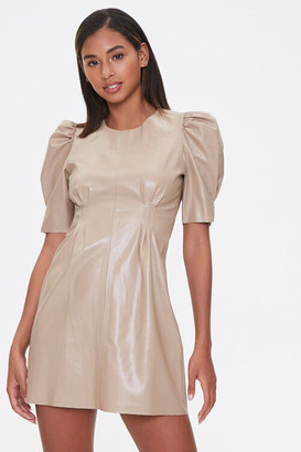 Forever 21 Faux Leather Puff-Sleeve Dress
