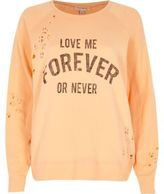 River Island Womens Coral distressed print sweatshirt