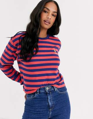 Polo Ralph Lauren striped cropped long sleeve tee-Red