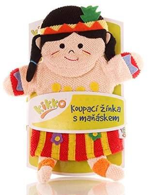XKKO Ctnb G015 A with Hand Puppet Wash Mitt 100% Cotton, Multi-Coloured